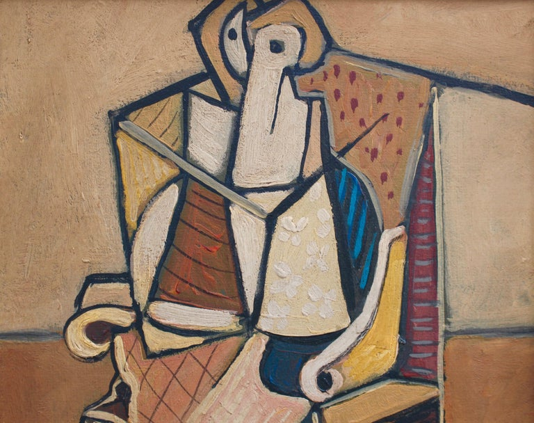 'Seated Abstract Figure', oil on board, by J.G. (circa 1940s - 1960s). This artwork depicts a seated figure consisting of bold lines, geometric shapes and muted hues. The flat planes of colour and complex puzzle-like compositions echo the