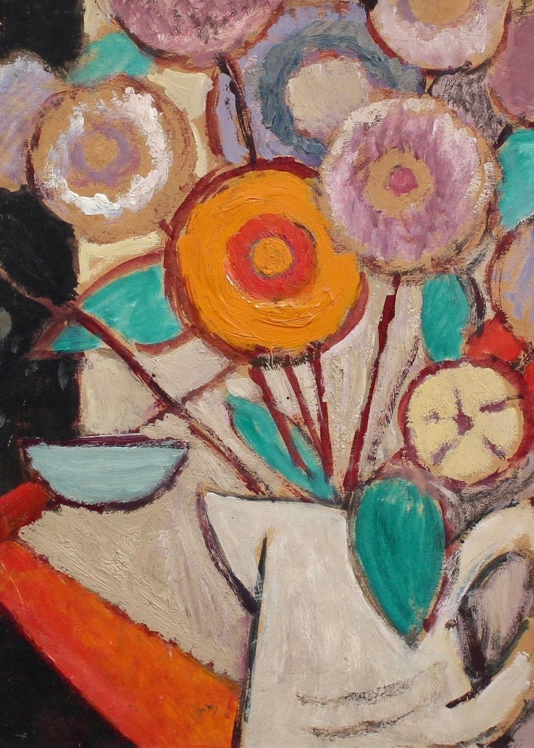 Juliette Roche-Gleizes Abstract Painting - Still Life - White Jug with Flowers