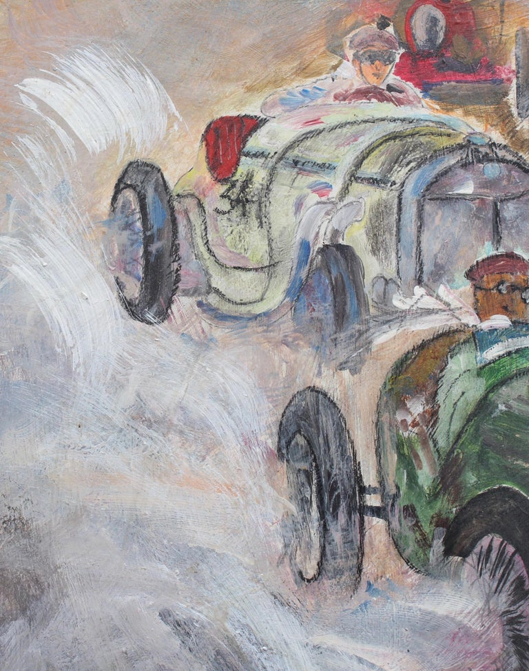 Grand Prix Racer II - Gray Figurative Painting by Unknown