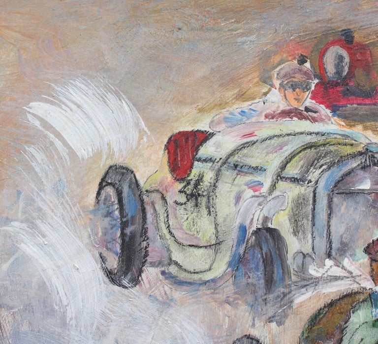 'Grand Prix Racer II', French School, oil on board (circa 1960s). The 'good ole' days' of Formula One (or Grand Prix) racing are depicted in this thrilling mid-century oil painting (second in the series). This racing car is most likely a Bugatti,