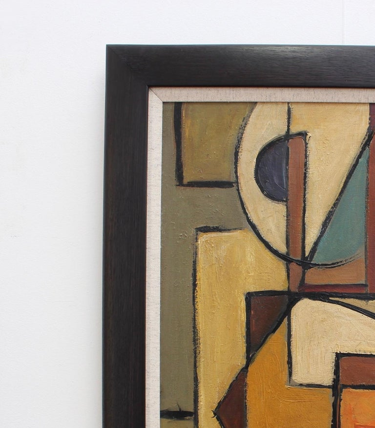 'Abstract Composition in Colour', oil on canvas, signed by an artist with the name Lemaire (circa 1960s). Bold lines, geometric shapes and vivid colours are combined to emerge as an extraordinary work of art. Clearly influenced by the works of