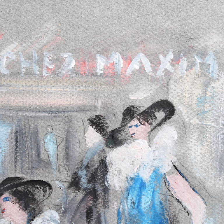 'Chez Maxim's', pastel and gouache on fine art paper, by André Meurice (circa 1950s - 60s). The artist depicts the glamorous clientele at the entryway to Maxim's. Maxim's was one of the most popular and fashionable restaurants in Paris. Under its