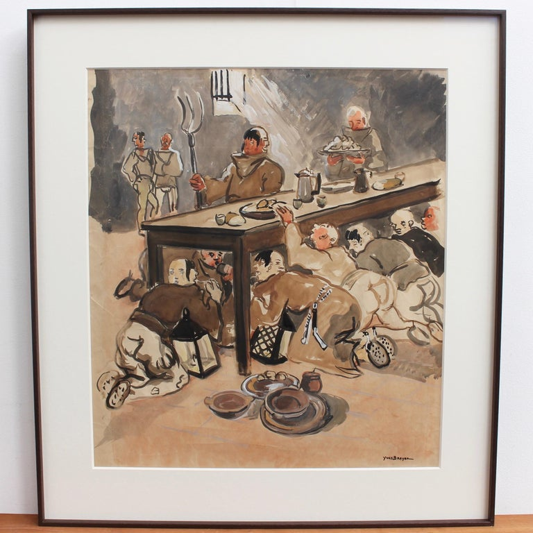The Repast of the Monks - Painting by Yves Brayer