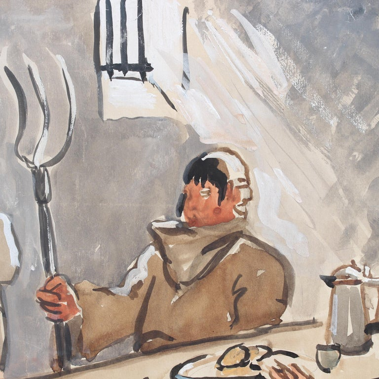 The Repast of the Monks - Brown Figurative Painting by Yves Brayer