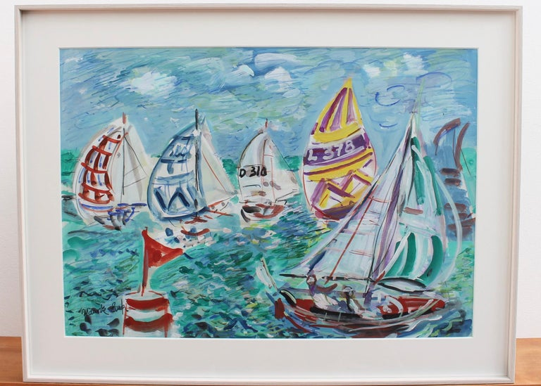 Spinnakers Out - La Trinité Regatta - Expressionist Art by Maurice EMPI