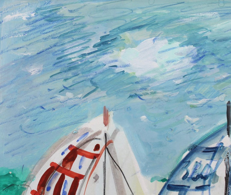 'Spinnakers out at La Trinité Regatta', gouache on paper, by Maurice Empi (circa 1970s). A horn signals the 15 minute countdown to the start of the regatta. The moments that lead up to the start of a sailboat race are absolutely nerve-racking. Each