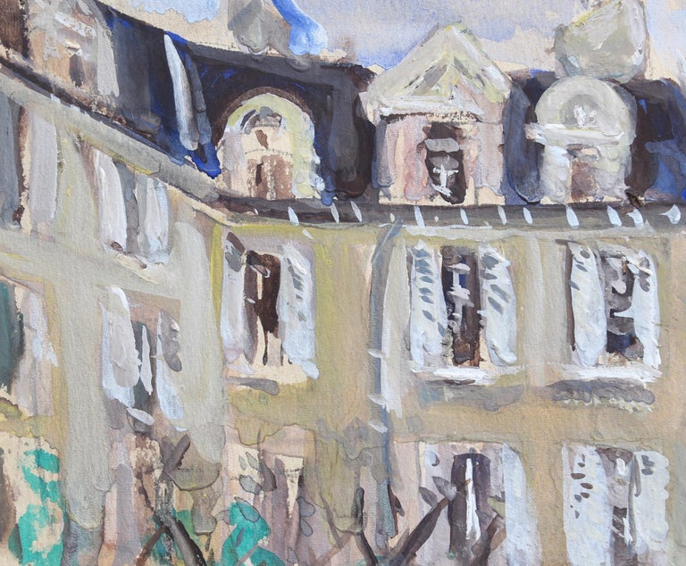 'A View of Paris', gouache on paper, by Lucien Génin (circa 1930s). Génin was most noted for his paintings of Paris in the 1920s and 30s. Some were very animated showing Parisians meandering by some of the city's well known landmarks. In this case