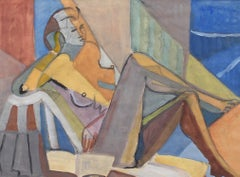 Portrait of Reposing Cubist Nude with Book by Kosta Stojanovitch