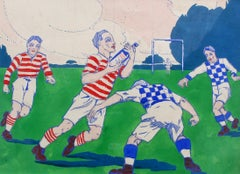 'The Rugby Tackle' Original French Advertising Prototype Illustration