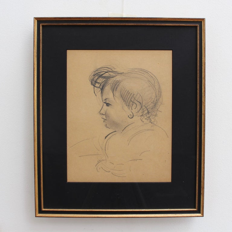 'Portrait of a Young Girl', pencil on art paper, by French artist, Guillaume Dulac (circa 1920s). An artist known for his exquisite drawings - many are sketches for his larger oil paintings or other works, this piece's beauty lies in its simplicity