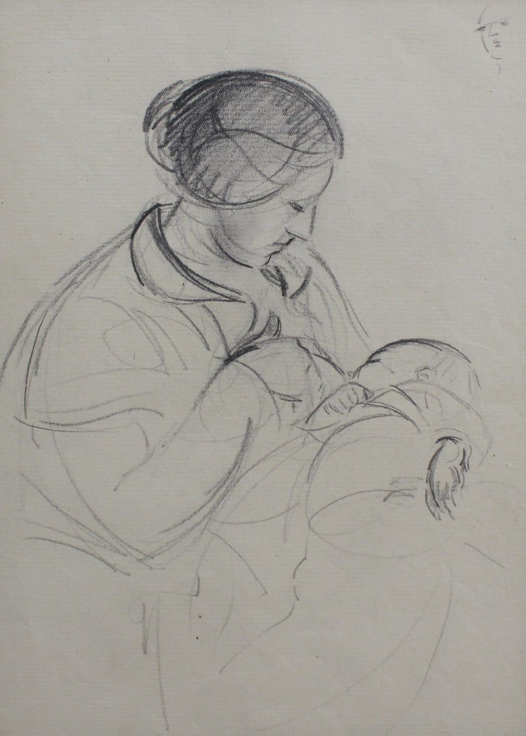 Guillaume Dulac Figurative Art - Mother Nursing Her Baby