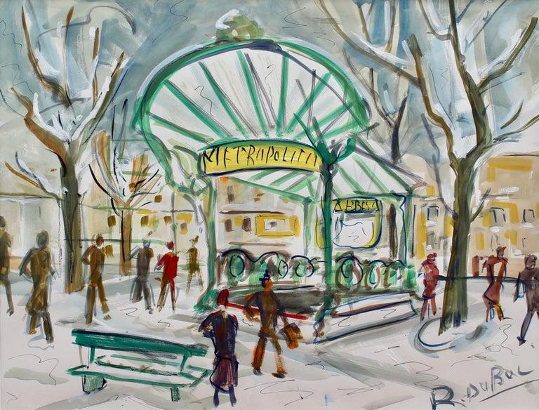 Roland DUBUC Landscape Painting - Paris Metro Station Les Abesses Montmartre