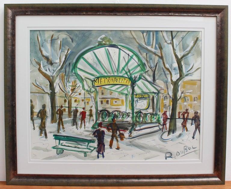 Paris Metro Station Les Abesses Montmartre - Painting by Roland DUBUC