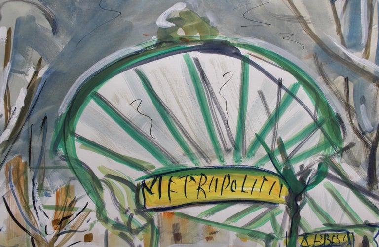 Paris Metro Station Les Abesses Montmartre - Gray Landscape Painting by Roland DUBUC