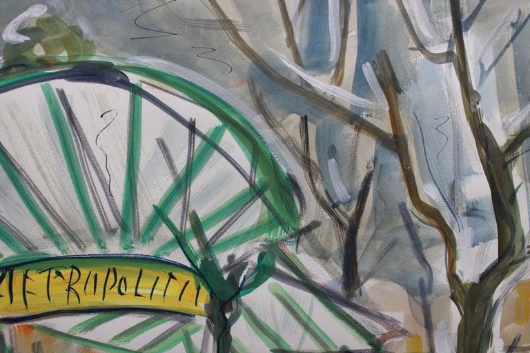 'Paris Metro Station, Les Abesses, Montmartre', watercolour and gouache on art paper by Roland Dubuc (circa 1960s). When the Paris Metro system opened 116 years ago, Art Nouveau was at its peak. The entrances to stations were designed in Art Nouveau