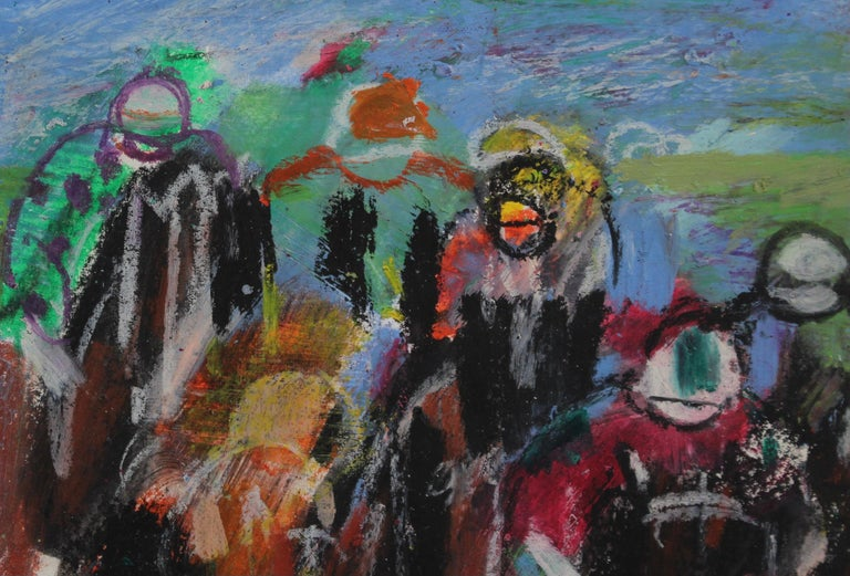 'The Final Stretch', pastel on weighted art paper, by Maurice Empi (circa 1980s). One can almost feel the excitement of the horse race from this exuberant and colourful work of art. A recurring theme in Empi's work comes from his love of the races -