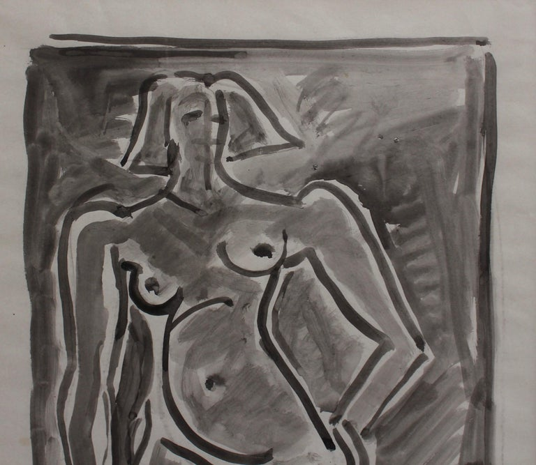 'Standing Nude', watercolour on paper, by Louis Latapie (circa 1940s). The painting was most likely completed as the artist was transitioning between his figurative phase to cubism and abstraction. In many ways it bears resemblance to a