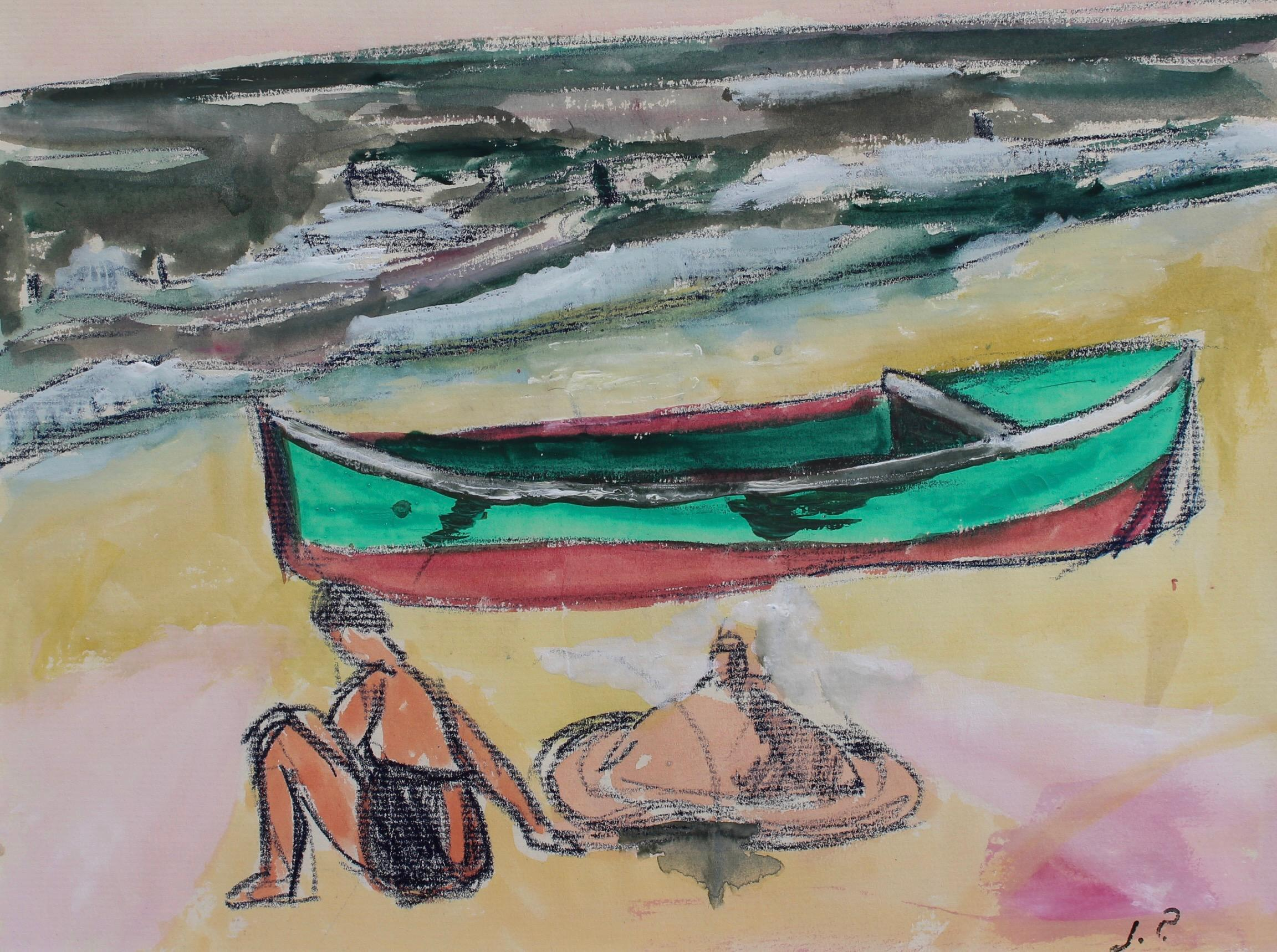 Small Boat and Bather in Dinard