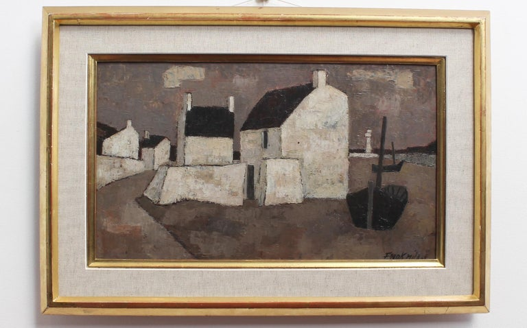 'Le Port' by Frank Milo, Mid-Century Seascape Oil Painting, Brittany France 1962 For Sale 1