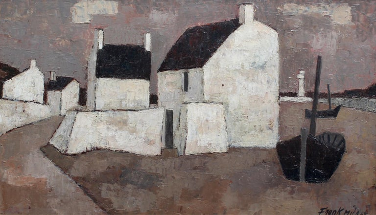 'Le Port', oil on canvas (1962) by Swiss artist, Frank Milo (1921 - 1991). Known for his seascapes in Brittany, this alluring work of art depicts whitewashed houses, a lighthouse and boats so typical of the small fishing villages and ports that dot