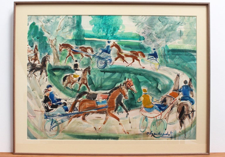 A Day at the Deauville Racetrack - Painting by Pierre Gaillardot