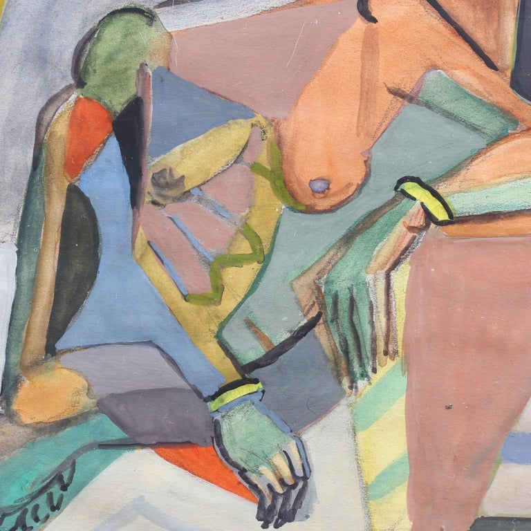 Cubist Nude Portrait of Seated Woman II  For Sale 6