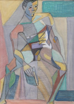 Kosta Stojanovitch, 'Cubist Nude Portrait of Seated Young Man', circa 1950s