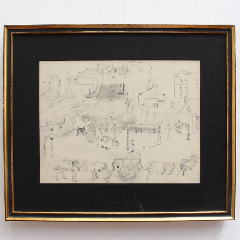 Set of Two Historical Pencil Drawings of Early 20th Century Paris (circa 1900) For Sale 1