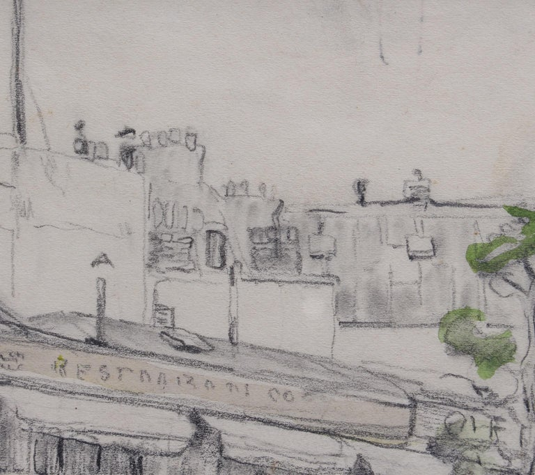 Set of Two Historical Pencil Drawings of Early 20th Century Paris (circa 1900) For Sale 10