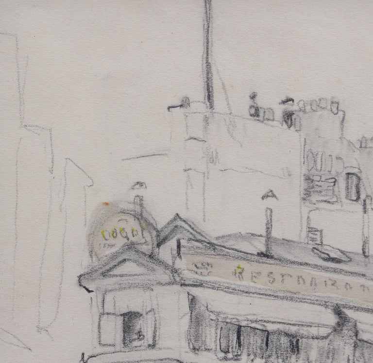 Set of Two Historical Pencil Drawings of Early 20th Century Paris (circa 1900) For Sale 9