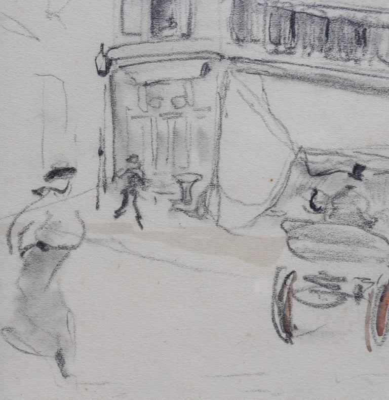 Set of Two Historical Pencil Drawings of Early 20th Century Paris  For Sale 8