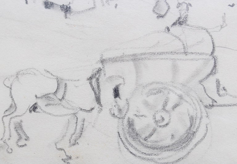 Set of Two Historical Pencil Drawings of Early 20th Century Paris (circa 1900) For Sale 13