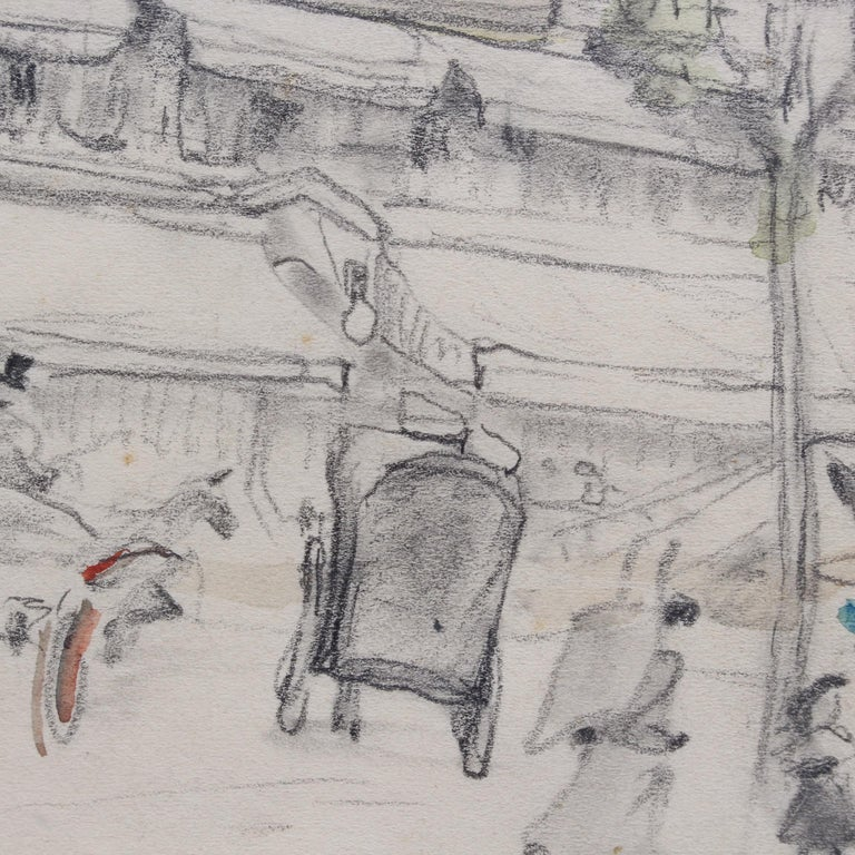 Set of Two Historical Pencil Drawings of Early 20th Century Paris (circa 1900) For Sale 7