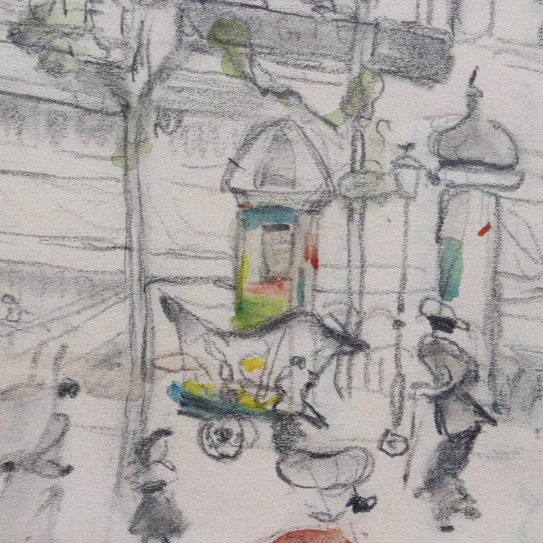 Set of Two Historical Pencil Drawings of Early 20th Century Paris (circa 1900) For Sale 6