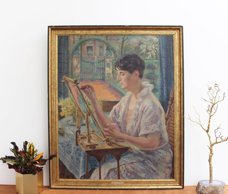 Woman by the Window with Embroidery Frame - Post-Impressionist Painting by Franz Ludwig Kiederich
