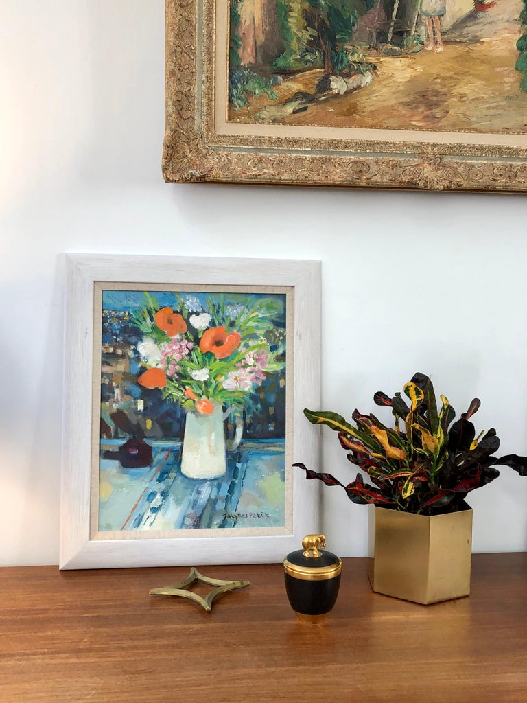 Bouquet with White Jug - Modern Painting by Jacques Petit