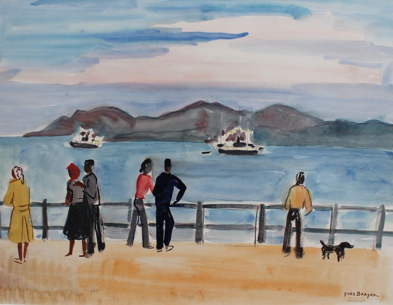 'Seaside Strollers in Cannes', watercolour on art paper, by Yves Brayer (circa 1970s). Even when not in summertime, passers-by and flâneurs in Cannes will find purpose and joy along the promenades of the azure Mediterranean coast. The blues of the