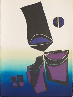 """Untitled (Berkley CA)"", abstract print, blues, violets, turquoise and black."