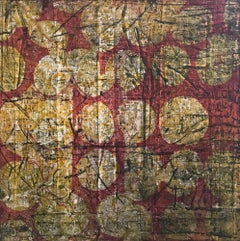 """""""Ditdot Four"""", abstract soft ground etching print, yellow, black, deep red."""