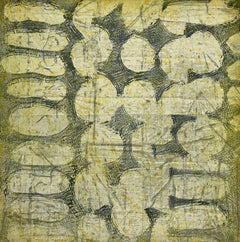 """""""Fabrique Three"""", abstract soft ground etching print, yellow, silver, bluegray ."""