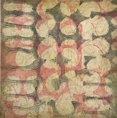 """""""Fabrique Six"""", abstract soft ground etching print, pale yellow, red, blue gray."""