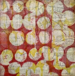 """""""Fabrique Seven"""", abstract soft ground etching print, pale yellow, silver, red."""