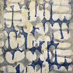 """""""Fabrique Eight"""", abstract soft ground etching print, pale yellow, silver, blue."""