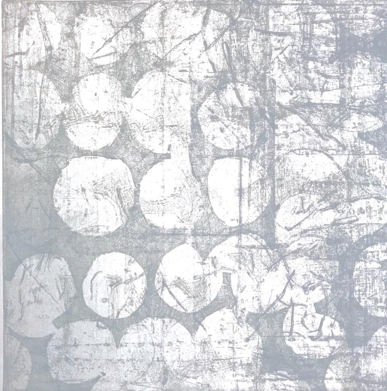 """Creighton Michael Abstract Print - """"Mute 10"""", abstract soft ground etching monoprint, white, cool gray, silver ."""