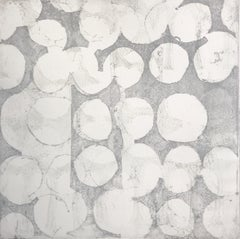 """Mute 12"", abstract soft ground etching monoprint, white, cool gray, silver ."
