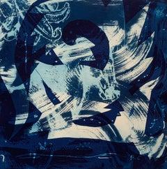 """Heirs To The Sea 2"", abstract aquatic seascape monoprint, cyan blues."