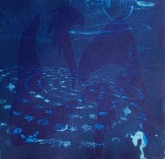 """Heirs To The Sea 15"", abstract aquatic seascape monoprint, cyan blues."