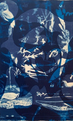 """Heirs To The Sea 21"", cyan blues abstract aquatic seascape monoprint."