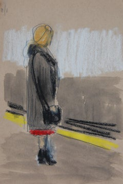 Long Coat and Red Skirt on Platform
