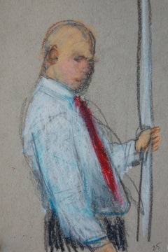 Man with Red Tie with Hand on Pole